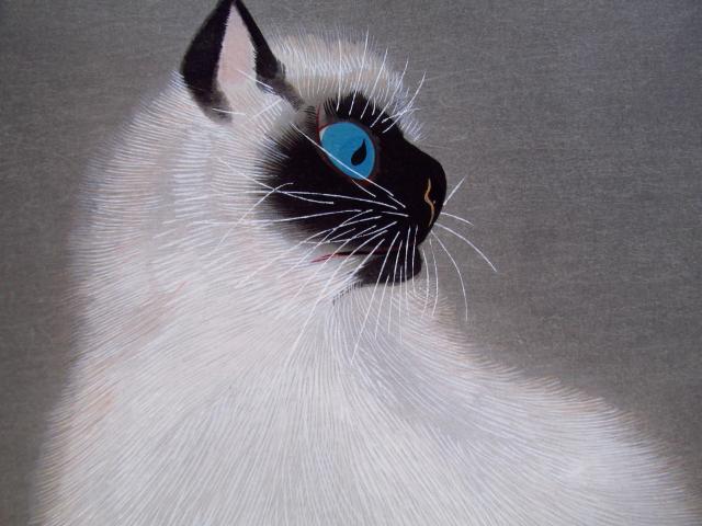 加山又造 猫(木版画)